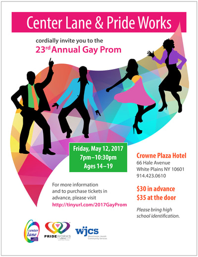 Flier for gay prom event with colorful illustrations of dancers.