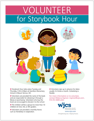 Flier encouraging volunteers to read to children. Includes a colorful illustration of a teacher reading a story book to a group of 4 children.
