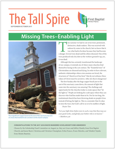 Thumbnail image of front cover of the Sept/Oct 2017 Tall Spire, a quarterly publication of First Baptist Church of White Plains.