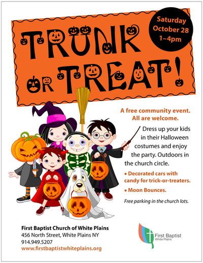 Flier for a Halloween event with decorative type and an illustration of kids in costume trick-or-treating.